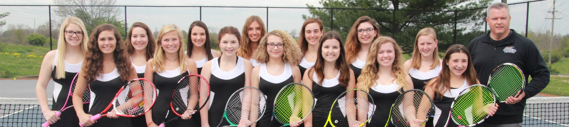 Group photo of Bourbon County's girl tennis team.